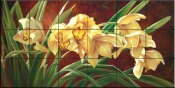 Golden Cymbidium Orchid - LSH - Tile Mural