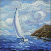 Windy Sailing-JM - Tile Mural