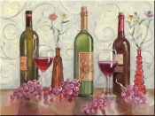 Grapes, Wine and a Red Vase - TK - Tile Mural