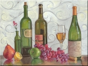 Grapes, Wine and a Green Vase - TK - Tile Mural