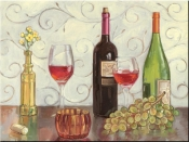 Grapes, Wine and a Yellow Vase - TK - Tile Mural
