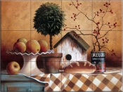 Birdhouse and Topiary - TC - Tile Mural