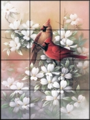 Cardinals and Dogwood - TC - Tile Mural