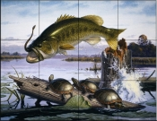 Largemouth Bass And Turtles    - Tile Mural