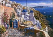 View Of Santorini    - Tile Mural