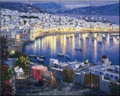 Mykonos Sunset    - Tile Mural