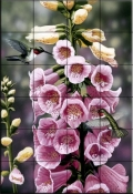 Hummingbirds-Foxgloves - Tile Mural