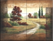 Autumn Scroll II    - Tile Mural