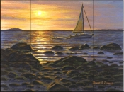 Sailboat at Napa Tree Point    - Tile Mural