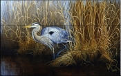 Set in Gold - Great Blue Heron - Tile Mural