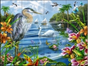 Blue Heron and Friends    - Tile Mural
