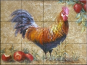 Rooster with Apples 1    - Tile Mural
