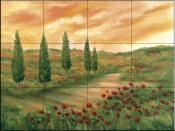 Sunset in Tuscany    - Tile Mural