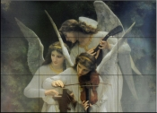 Angels Playing Violon    - Tile Mural