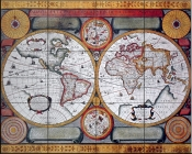 Antique Map, Terre Universelle, 1594    - Tile Mural