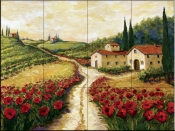 Red Poppy Road    - Tile Mural