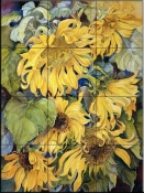 Cascading Sunflowers    - Tile Mural