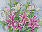 Lilies and Buds    - Tile Mural