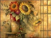 Country Sunflowers II    - Tile Mural