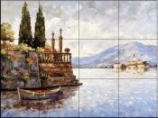 Evening Light on Lake Como    - Tile Mural