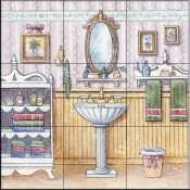 Vintage Bathroom II    - Tile Mural