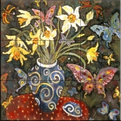 Butterflies and Daffodils    - Tile Mural