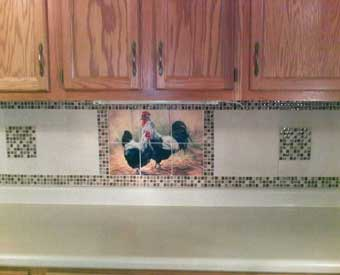 This gorgeous kitchen backsplash project is complete with this rooster tile  mural.