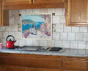 This Tuscan Italian Wine tile mural scene is perfect for a kitchen backsplash.
