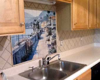 This waterview tuscan tile mural scene is perfect for a kitchen backsplash.