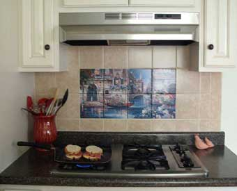 This kitchen backsplash project is complete with this venice tile mural.