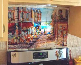 This waterview french tile mural scene is perfect for a kitchen backsplash.