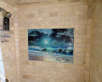 This gorgeous bathroom ocean tile mural scene is perfect for a shower wall.