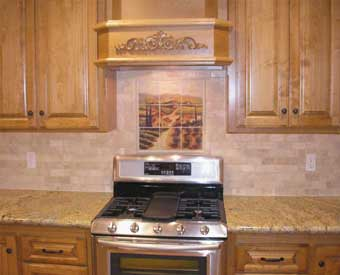 This gorgeous kitchen backsplash project is complete with this Tuscan Italian tile  mural.