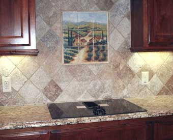 This gorgeous kitchen backsplash project is complete with this vineyard tile  mural.