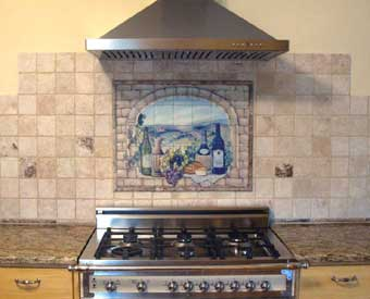 This beautiful wine tile mural scene is perfect for a kitchen wall backsplash.