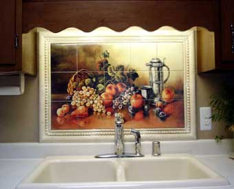 This gorgeous kitchen backsplash project is complete with this old world master fruit tile  mural.