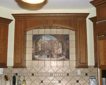 This Archway to Venice ceramic tile mural is one of the biggest sellers.  The Italian scene really goes well with the intricate tile work that has been done on this kitchen remodel project.