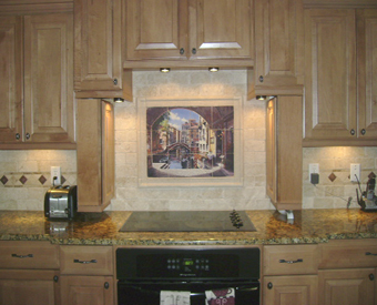 This Tuscan Italian Tile Mural scene is a great kitchen backsplash tile idea.  Enjoy this italian scene everyday when you make it part of your kitchen backsplash tile.