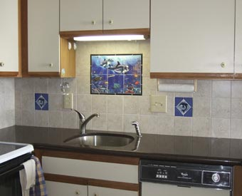 Dolphins on tiles look great in this kitchen project.