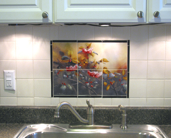 Look at how adding this elegant bird and flower tile mural  livens up an otherwise plain kitchen backsplash wall. Small, simple yet elegant, this warbler tile mural looks stunning against the light  colored backsplash field tiles.