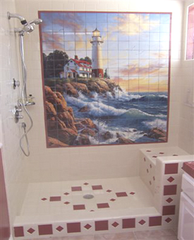 Shower Tile Surround Lighthouse 2 Item 15-105. This large bathroom wall tile mural consists of 180 4 1/4 ceramic tiles. This customer matched thier surrounding tiles and framed the tile mural with coordinating colored tiles. Beautiful installed bathroom tile job picture!