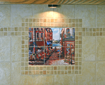 This Paris scene is perfect for a kitchen backsplash. This is  an image of John O'Brien's Seaside stroll artwork used as a tile mural as part of a gorgeous kitchen backsplash.