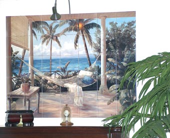 This customer applied the tiles to a piece of wood and now hangs this beach scene ceramic tile mural like a painting.