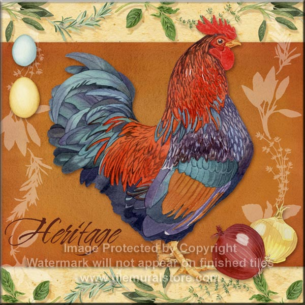 """Rooster Ceramic Tile Chicken Scenes Number 1 2 3 and 4  size 4.25/"""" x 4.25/"""" Decor"""