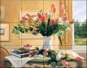 French Tulips and Crabapples    - Tile Mural