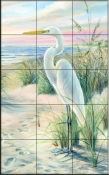 Egret Beach    - Tile Mural