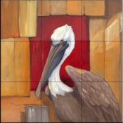 Pelican at the dock    - Tile Mural