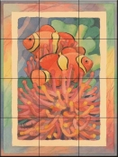 Anemone Clownfish Antique    - Tile Mural