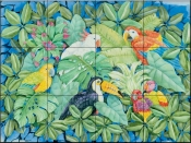 Tropical Birds    - Tile Mural