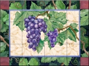 Cabernet Grapes  2  - Tile Mural